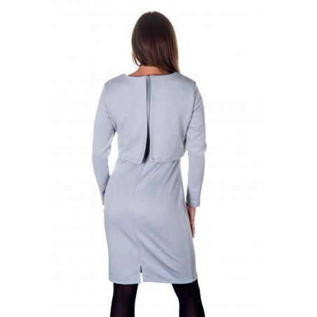 Colour: High Rise Silver. Back features long length YKK concealed zipper, and back layered piece.