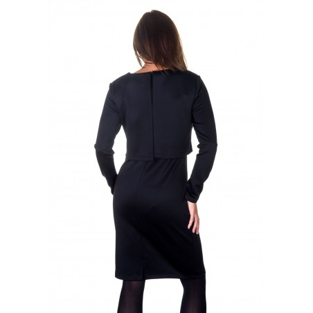 Colour: Black. Back features long length YKK concealed zipper, and back layered piece.